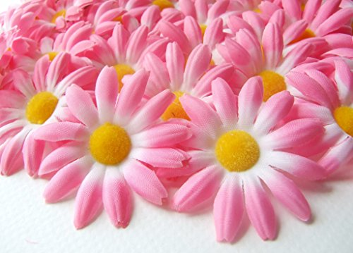 "ICRAFY 24 Daisy Silk Flower Head Soft Pink Color, Size 1.5"" Artificial Flowers Heads Fabric Floral Supplies Wholesale Lot for Wedding Flowers Accessories Make Bridal Hair Clips Headbands Dress"