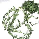 levylisa 21.8 Yards Olive Leaf Vine Ribbon, DIY Leaf Headband, Leaf Balloon Tail, DIY Leaf Crown, DIY Leaf Napkin Rings, Leaves Garland, Ribbon Craft Sewing DIY Wedding Bouquet, DIY Wedding Gift