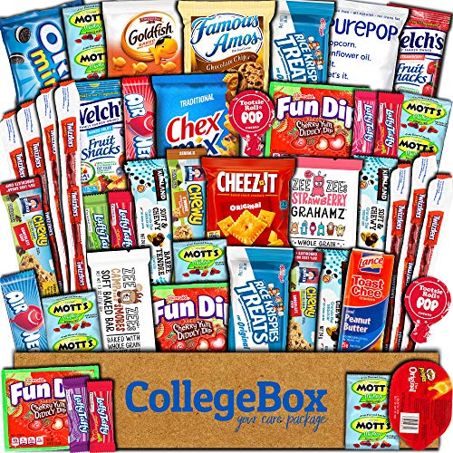 CollegeBox Care Package (45 Count) Snacks Food Cookies Granola Bar Chips Candy Ultimate Variety Gift Box Pack Assortment Basket Bundle Mix Bulk Sampler Treats College Students Office Staff Halloween