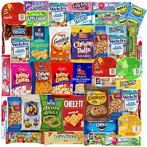 Blue Ribbon Care Package (45 Count) Ultimate Sampler Mixed Bulk Bars, Cookies, Chips, Candy Snacks Variety Box Pack Office Schools Friends Family Military Treats College Students Halloween Gift Basket