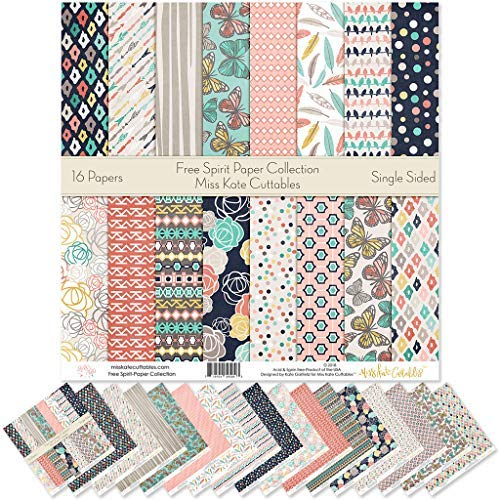 "Pattern Paper Pack - Free Spirit - Scrapbook Premium Specialty Paper Single-Sided 12""x12"" Collection Includes 16 Sheets - by Miss Kate Cuttables"