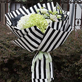 BBC Striped Flower Wrapping Paper for Gift Packaging 20 Sheets 23.6x23.6 Inch