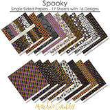 "Pattern Paper Pack - Spooky - Scrapbook Premium Specialty Paper Single-Sided 12""x12"" Collection Includes 16 Sheets - by Miss Kate Cuttables"