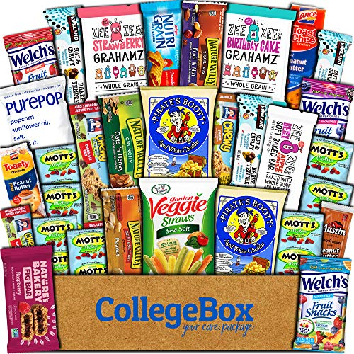 CollegeBox Healthy Care Package (30 Count) Natural Food Bars Nuts Fruit Health Nutritious Snacks Variety Gift Box Pack Assortment Basket Bundle Mix Sampler College Students Office Staff Halloween