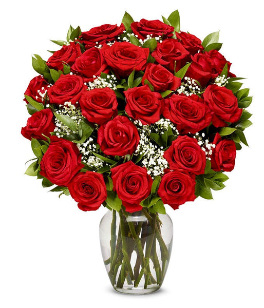 Flowers - Two Dozen Long Stemmed Red Roses (Free Vase Included)