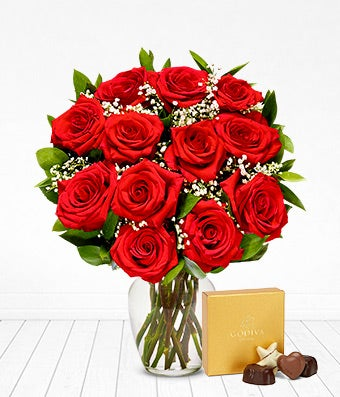 One Dozen Red Roses with Godiva Chocolates