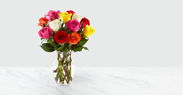 12 Mixed Roses with Vase