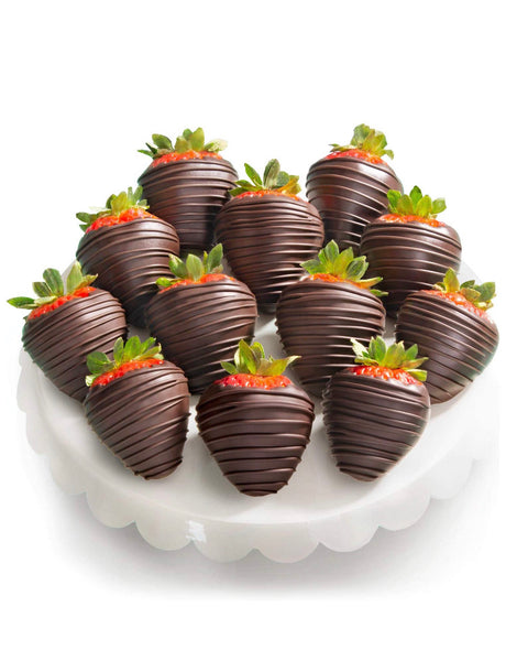 Belgian Dark Chocolate Covered Strawberries - 12 Pieces