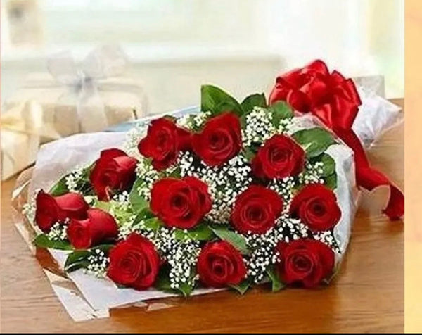 12 red roses bouquet  (Only for Pick Up )