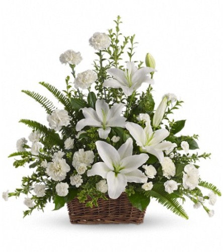 Peaceful White Lilies Basket