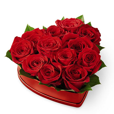 FTD Lovely Red Rose Heart Box - 20-V6R