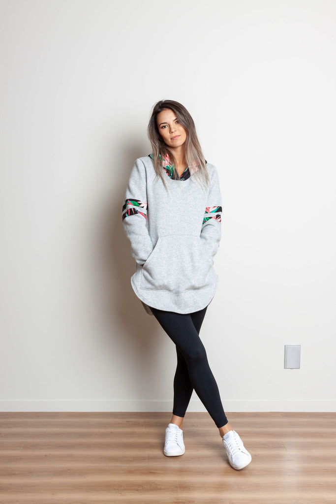 Tropical pocket hoody grey