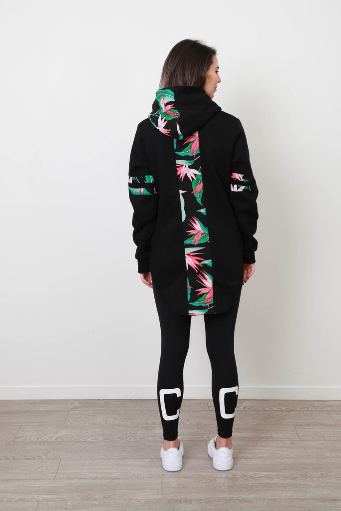 TROPICAL BASEBALL HOODY BLACK