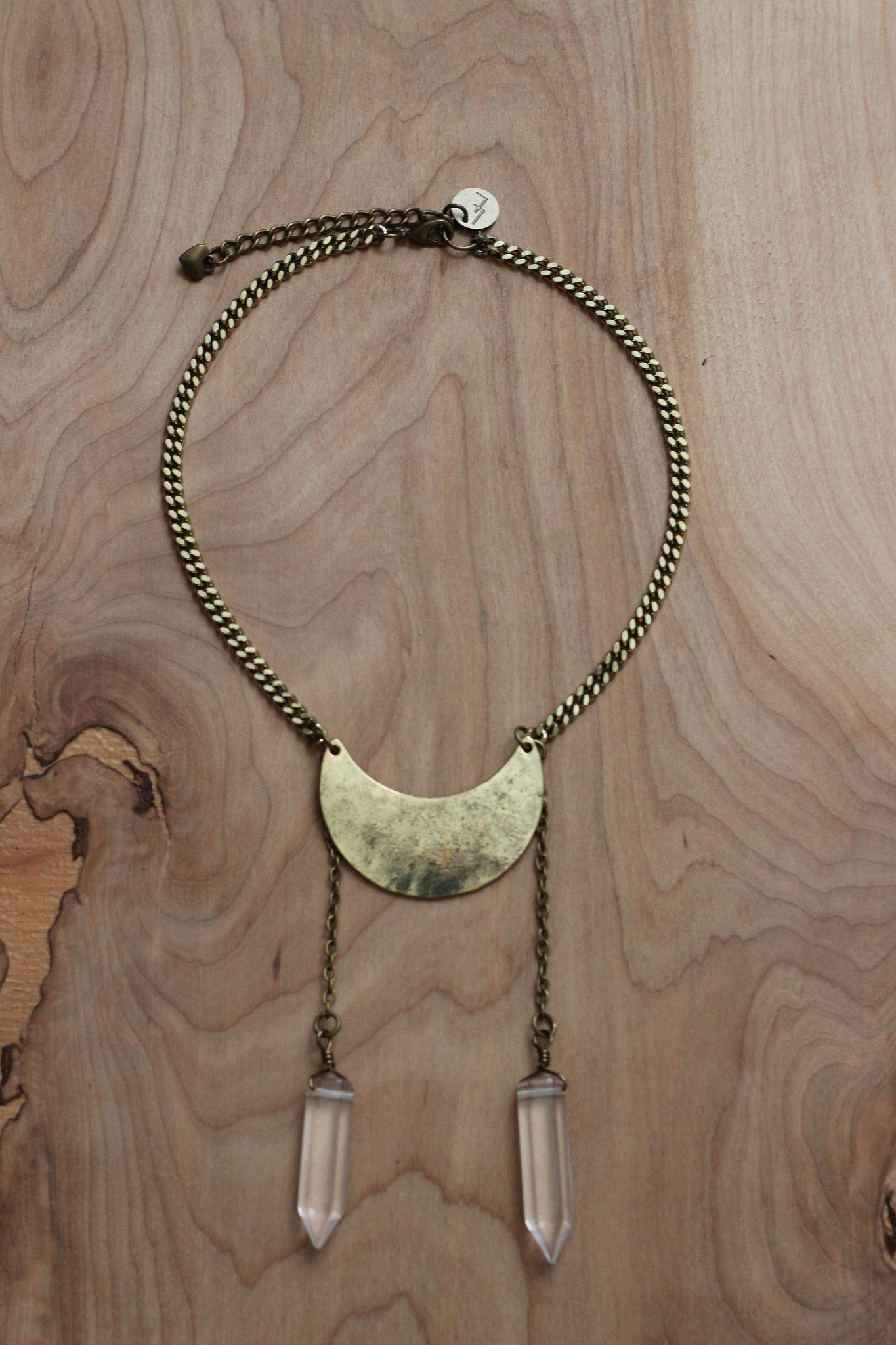Crystal Moon Necklace- Gold