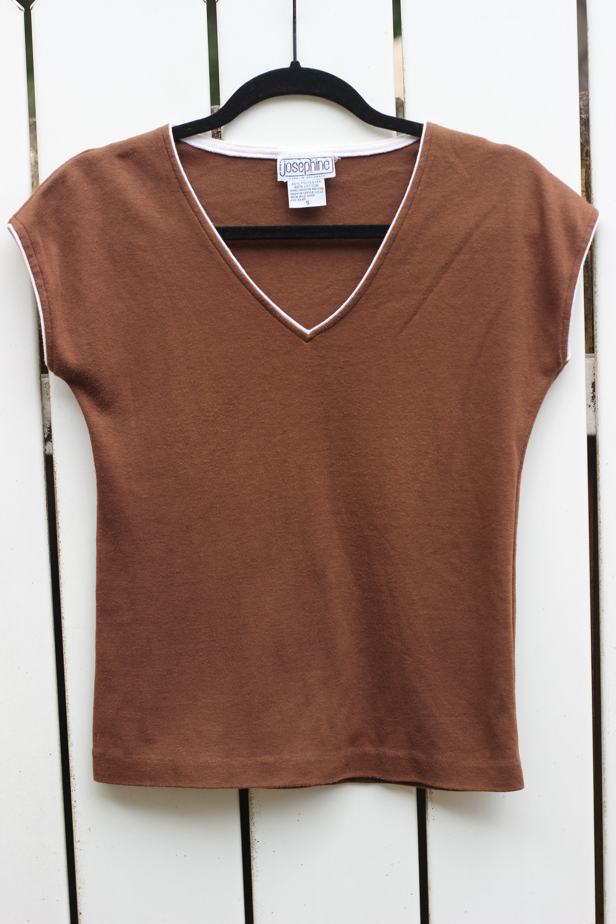 Vintage Brown 70's Style V-Neck Shirt (S)