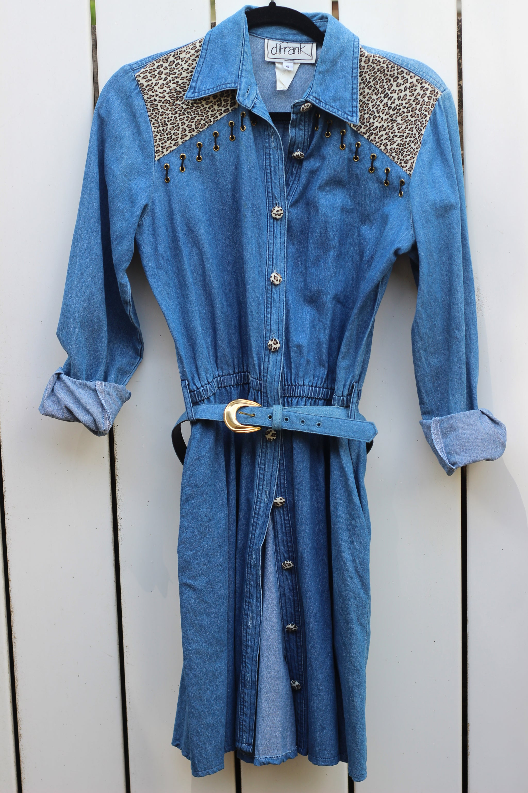 Vintage Denim & Leopard Button Up Dress (XS/S)