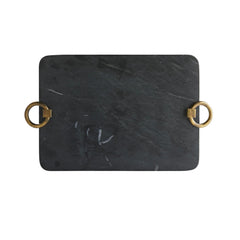 BLACK MARBLE & BRASS TRAY
