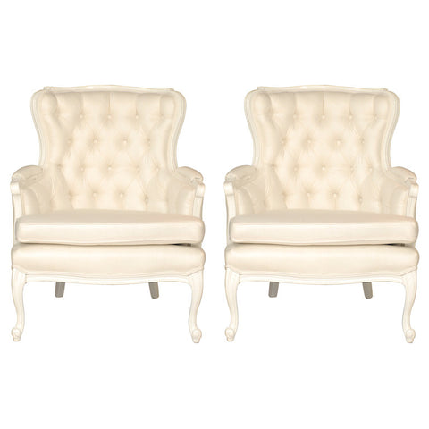 Pair of Tufted Cream Chairs