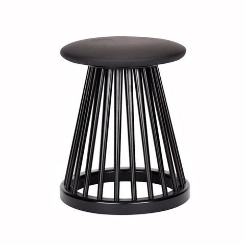 Cushioned Black Fan Stool