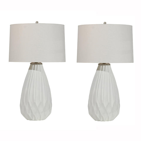 Pair of White Carved Wood Lamps