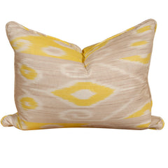 Yellow & Taupe Ikat Pillow