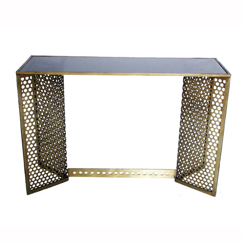 Perforated Brass Frame Console