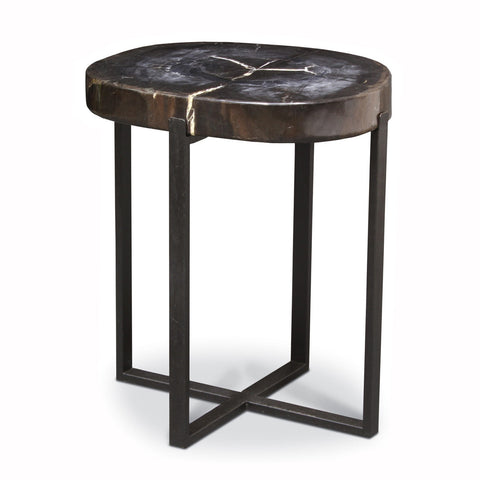 Petrified Wood Top Side Table