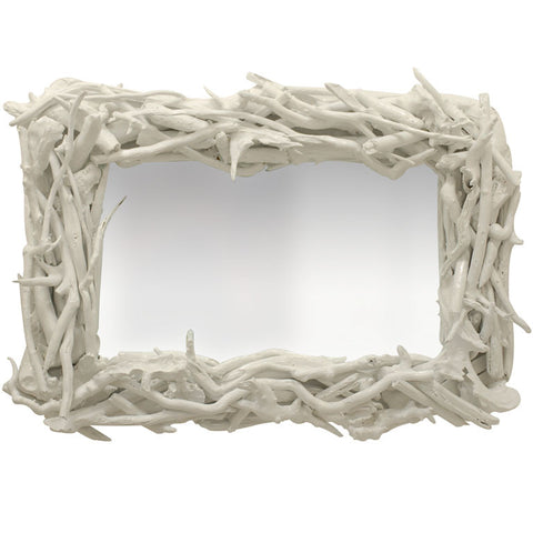 Custom Driftwood Mirror: White Gloss