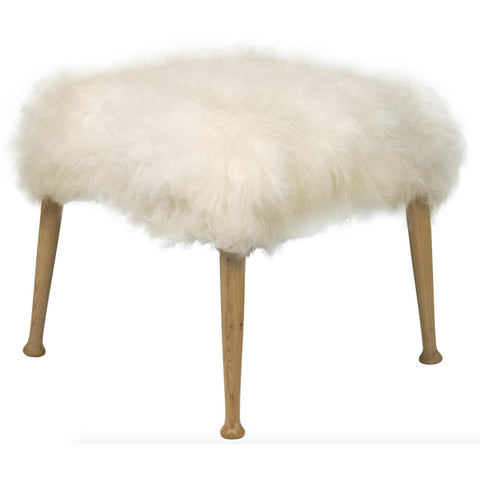 White Fur Stool