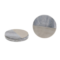 GREY MARBLE & STEEL COASTERS