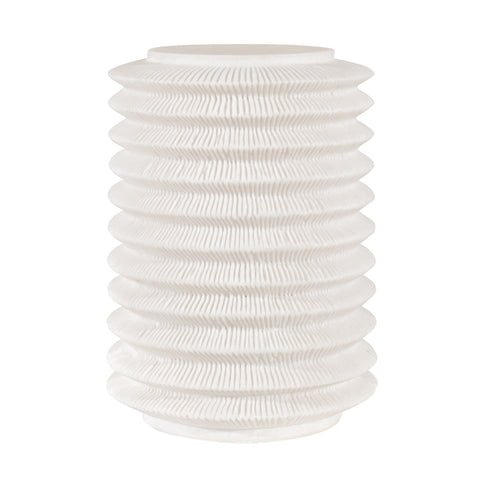 WHITE RIBBED LANTERN