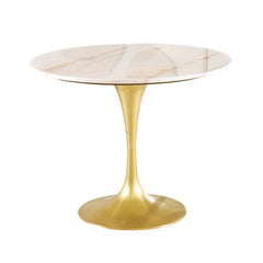 WHITE STONE & BRASS TULIP TABLE