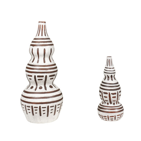 LINEAR BROWN AND WHITE VASE