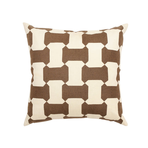 CHOCOLATE & NATURAL BLOCK PRINT PILLOW