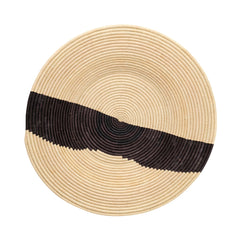 BLACK AND NATURAL RAFFIA WALL ART