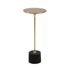 SMALL BRASS AND BLACK DRINK TABLE