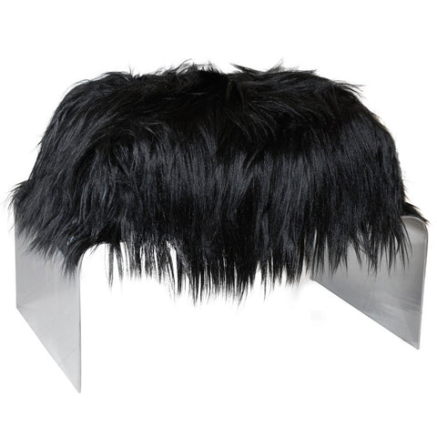 Black Long Hair Ottoman