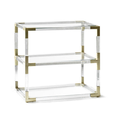Lucite & Brass 3-Tier Side Table