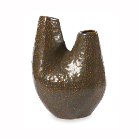 Speckled Brown Stoneware Vase