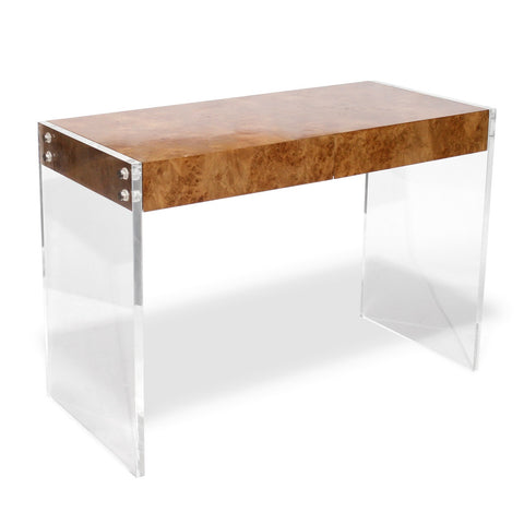 Burl Wood & Lucite Desk