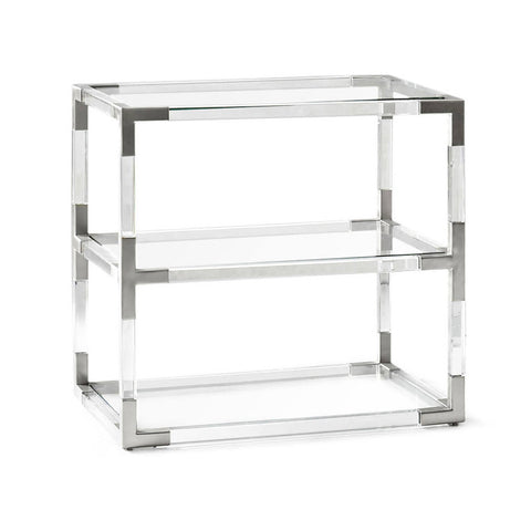Lucite & Chrome 3-Tier Side Table