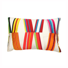 Embroidered Stripe & Yellow Pillow
