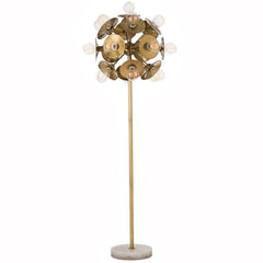 Brass Disk Sphere Floor Lamp