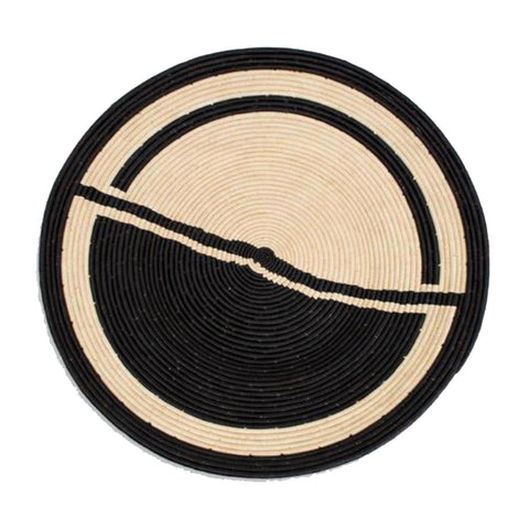 HALF & HALF BLACK AND NATURAL RAFFIA WALL ART