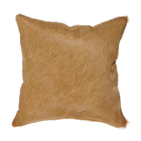 Custom Tan Hide & Orange Felt Pillow