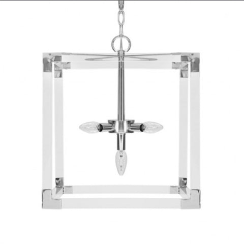 LUCITE & NICKEL CHANDELIER