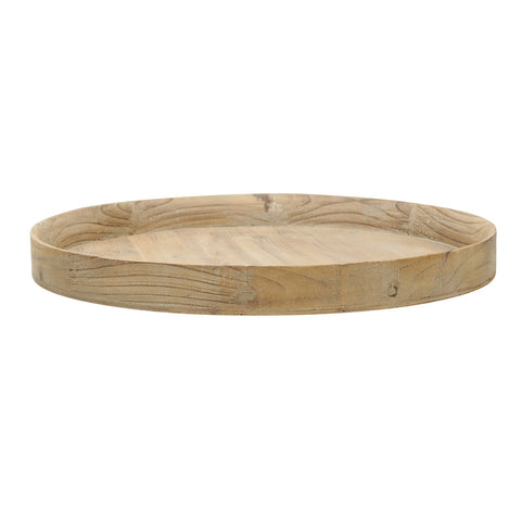 Pale Round Wood Tray