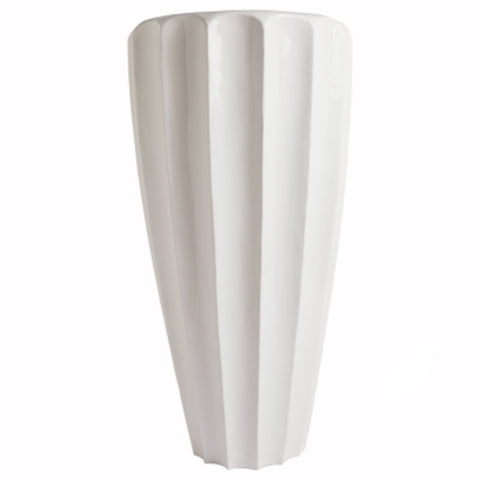 White Scalloped Planter
