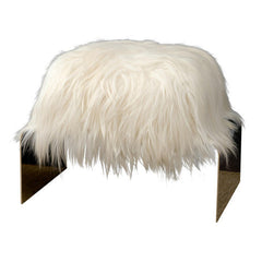 White Long Hair Ottoman