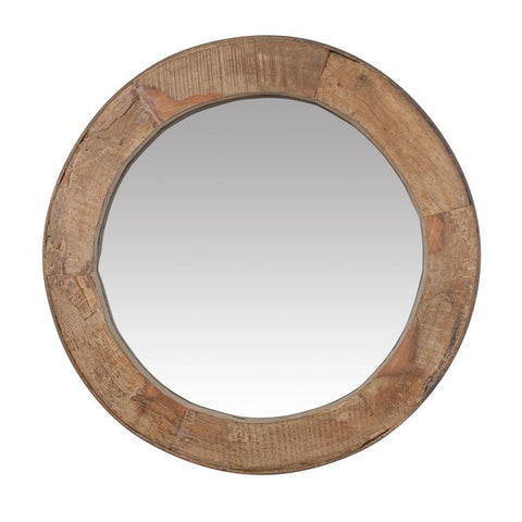 Wood Wheel Mirror